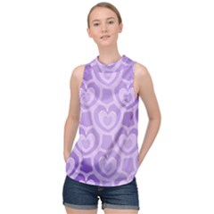 Purple Hearts Pattern High Neck Satin Top