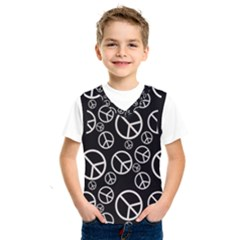 Black And White Peace Symbols Kids  Sportswear