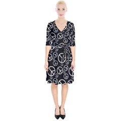 Black And White Peace Symbols Wrap Up Cocktail Dress