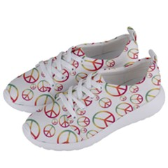 Colorful Rainbow Peace Symbols Women s Lightweight Sports Shoes by SpinnyChairDesigns