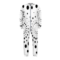 Abstract Black And White Polka Dots Onepiece Jumpsuit (kids)