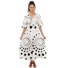 Abstract Black And White Polka Dots Kimono Sleeve Boho Dress by SpinnyChairDesigns