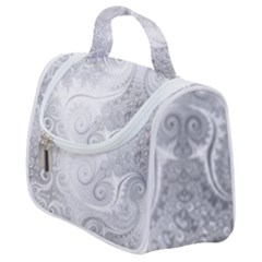 White Silver Swirls Pattern Satchel Handbag