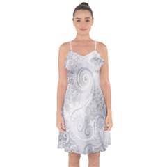 White Silver Swirls Pattern Ruffle Detail Chiffon Dress by SpinnyChairDesigns