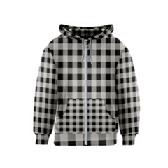 Black And White Buffalo Plaid Kids  Zipper Hoodie
