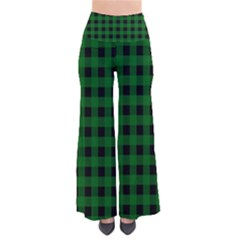 Black Dark Green Buffalo Plaid So Vintage Palazzo Pants by SpinnyChairDesigns