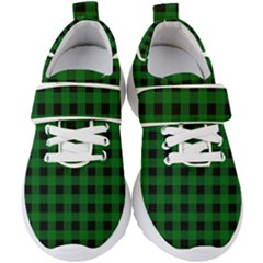 Black Dark Green Buffalo Plaid Kids  Velcro Strap Shoes
