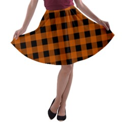 Orange Black Buffalo Plaid A-line Skater Skirt