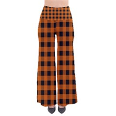 Orange Black Buffalo Plaid So Vintage Palazzo Pants by SpinnyChairDesigns