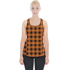 Orange Black Buffalo Plaid Piece Up Tank Top
