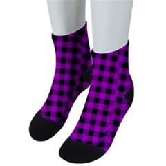 Purple Black Buffalo Plaid Men s Low Cut Socks