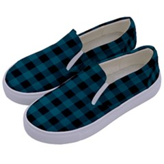 Teal Black Buffalo Plaid Kids  Canvas Slip Ons by SpinnyChairDesigns