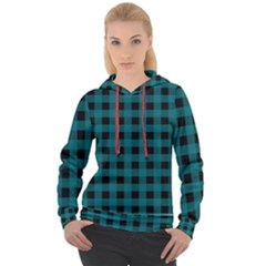 Teal Black Buffalo Plaid Women s Overhead Hoodie