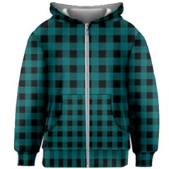 Teal Black Buffalo Plaid Kids  Zipper Hoodie Without Drawstring by SpinnyChairDesigns
