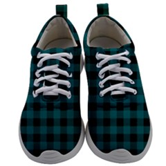 Teal Black Buffalo Plaid Mens Athletic Shoes by SpinnyChairDesigns