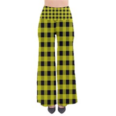 Yellow Black Buffalo Plaid So Vintage Palazzo Pants by SpinnyChairDesigns
