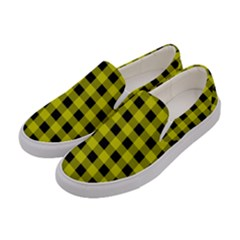 Yellow Black Buffalo Plaid Women s Canvas Slip Ons by SpinnyChairDesigns