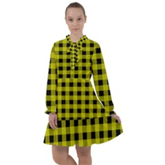 Yellow Black Buffalo Plaid All Frills Chiffon Dress