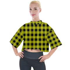 Yellow Black Buffalo Plaid Mock Neck Tee by SpinnyChairDesigns