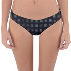Abstract Black Checkered Pattern Reversible Hipster Bikini Bottoms