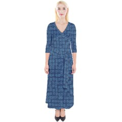 Blue Abstract Checks Pattern Quarter Sleeve Wrap Maxi Dress