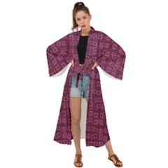 Plum Abstract Checks Pattern Maxi Kimono by SpinnyChairDesigns