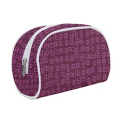 Plum Abstract Checks Pattern Makeup Case (small)