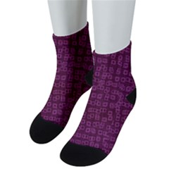 Plum Abstract Checks Pattern Men s Low Cut Socks