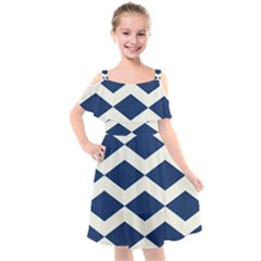 Diamonds Blue Kids  Cut Out Shoulders Chiffon Dress