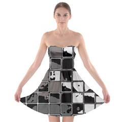Black And White Checkered Grunge Pattern Strapless Bra Top Dress