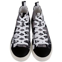 Black And White Checkered Grunge Pattern Men s Mid-top Canvas Sneakers
