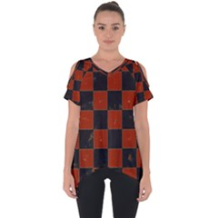Red And Black Checkered Grunge  Cut Out Side Drop Tee by SpinnyChairDesigns