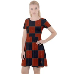 Red And Black Checkered Grunge  Cap Sleeve Velour Dress  by SpinnyChairDesigns