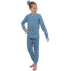 Country Blue Checks Pattern Kids  Long Sleeve Set