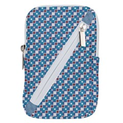 Country Blue Checks Pattern Belt Pouch Bag (large)