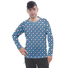 Country Blue Checks Pattern Men s Pique Long Sleeve Tee