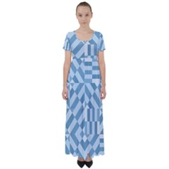 Truchet Tiles Blue White High Waist Short Sleeve Maxi Dress