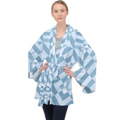 Truchet Tiles Blue White Long Sleeve Velvet Kimono