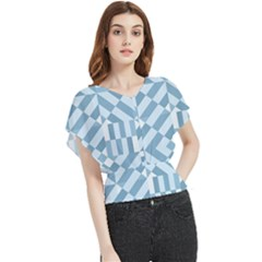Truchet Tiles Blue White Butterfly Chiffon Blouse