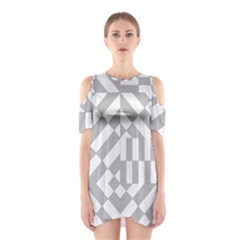 Truchet Tiles Grey White Pattern Shoulder Cutout One Piece Dress