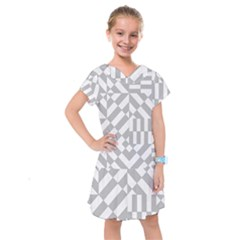 Truchet Tiles Grey White Pattern Kids  Drop Waist Dress
