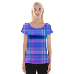 Madras Plaid Blue Purple Cap Sleeve Top