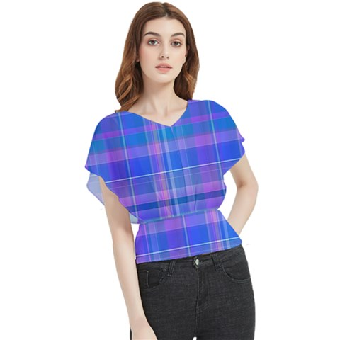 Madras Plaid Blue Purple Butterfly Chiffon Blouse by SpinnyChairDesigns