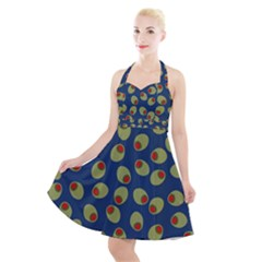 Green Olives With Pimentos Halter Party Swing Dress