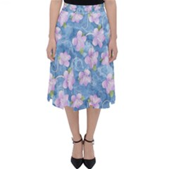 Watercolor Violets Classic Midi Skirt by SpinnyChairDesigns