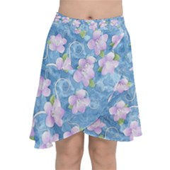 Watercolor Violets Chiffon Wrap Front Skirt by SpinnyChairDesigns