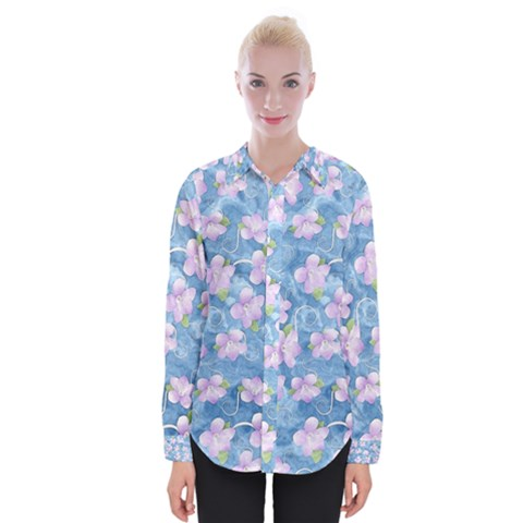 Watercolor Violets Womens Long Sleeve Shirt by SpinnyChairDesigns