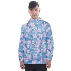 Watercolor Violets Men s Front Pocket Pullover Windbreaker by SpinnyChairDesigns
