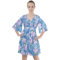 Watercolor Violets Boho Button Up Dress