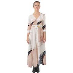 Pink And Blue Marble Button Up Boho Maxi Dress